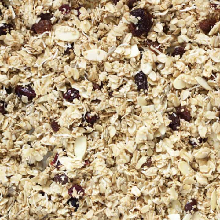 closeup view of granola with oats, sliced almonds, coconut, sesame seeds, sunflower seeds, raisins, and dried cranberries
