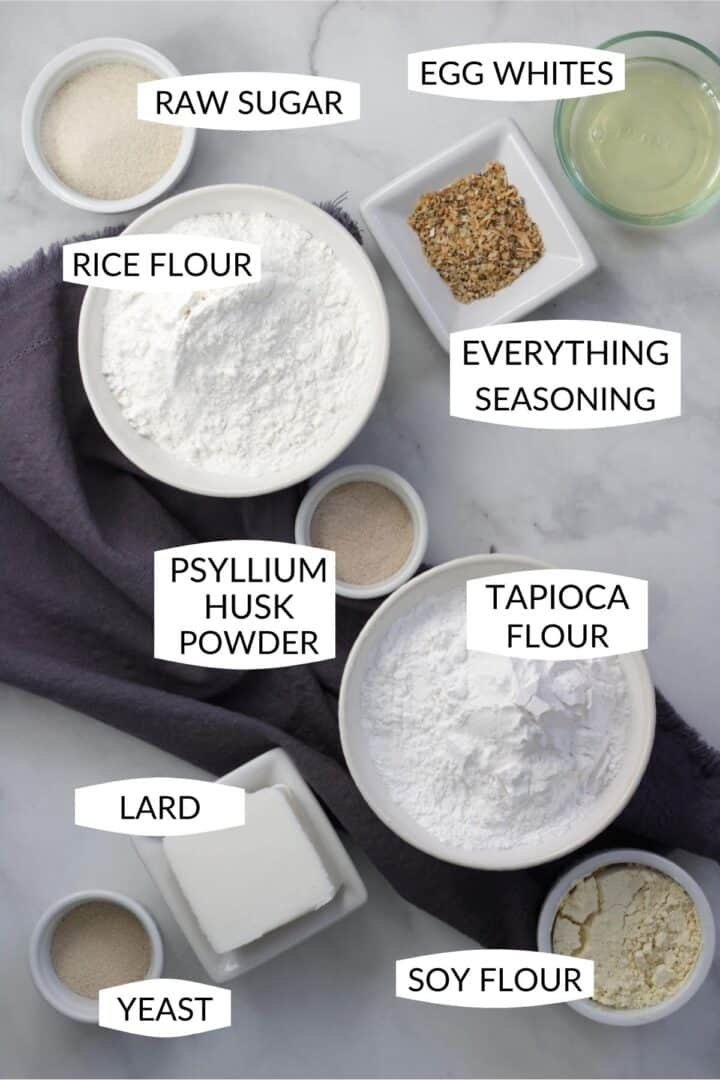 ingredients for gluten free bagels in individual bowls with labels