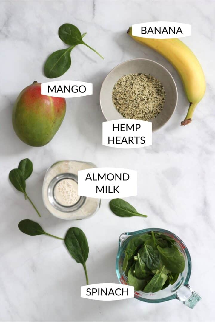 mango, hemp hearts, banana, almond milk, and spinach with labels