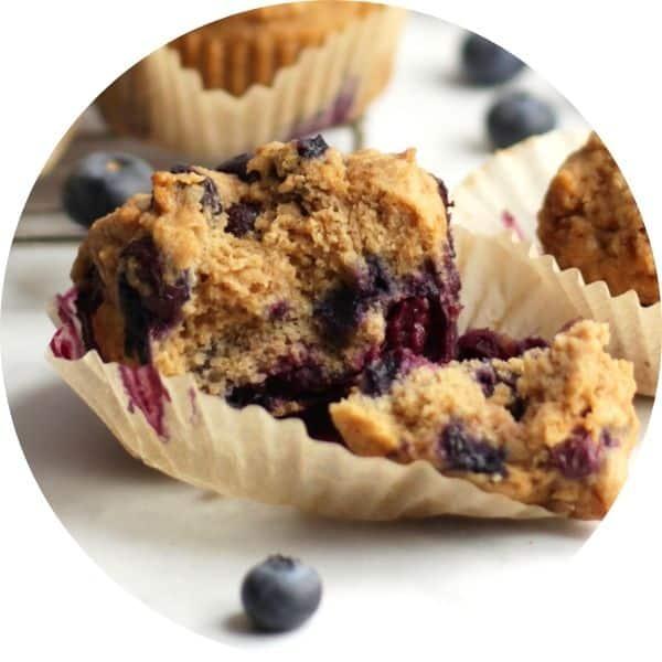 blueberry muffins broken open
