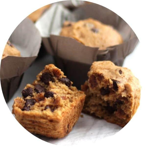 chocolate chip muffin broken open
