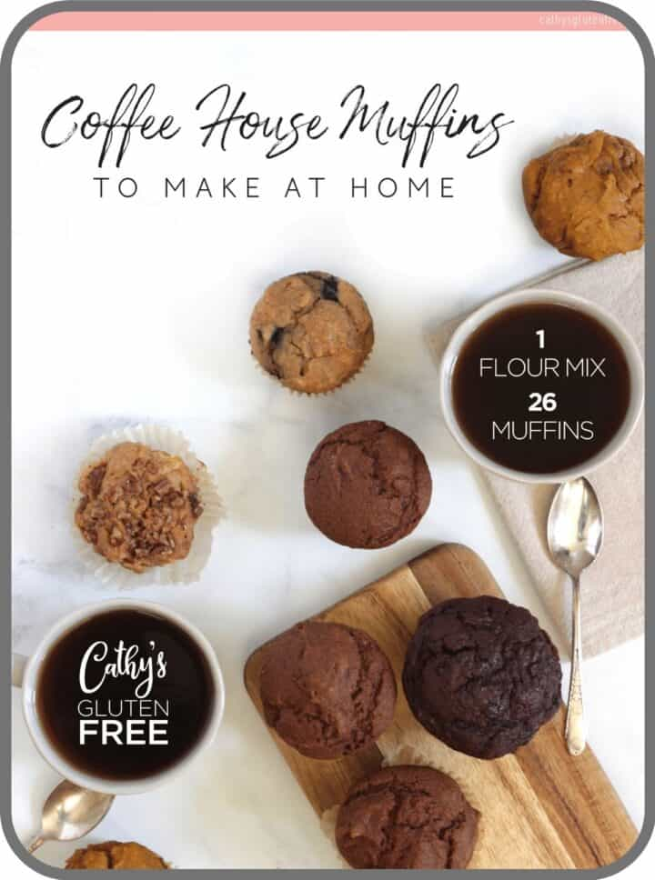 cover of Coffee House Muffins to Make at Home on tablet, image of looking down on the tops of various muffins and cups of coffee