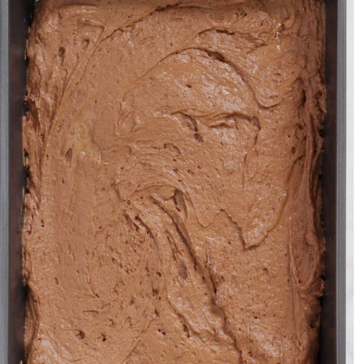 raw chocolate batter spread out into rectangular pan
