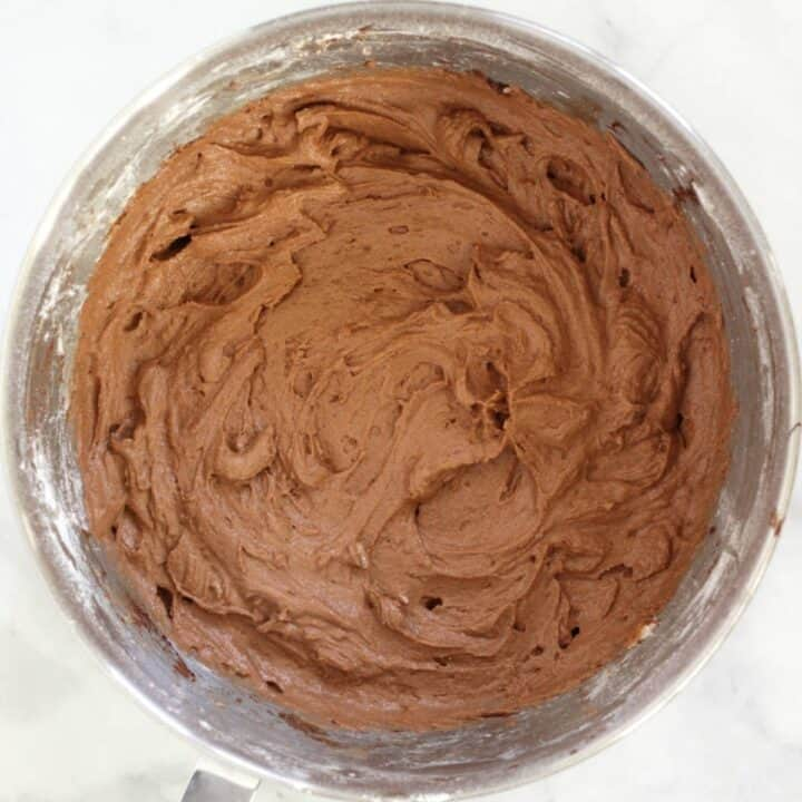 lighter coloured chocolate batter in bowl