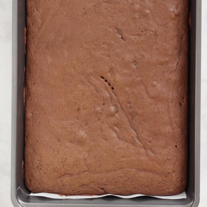 baked chocolate cake in rectangular pan