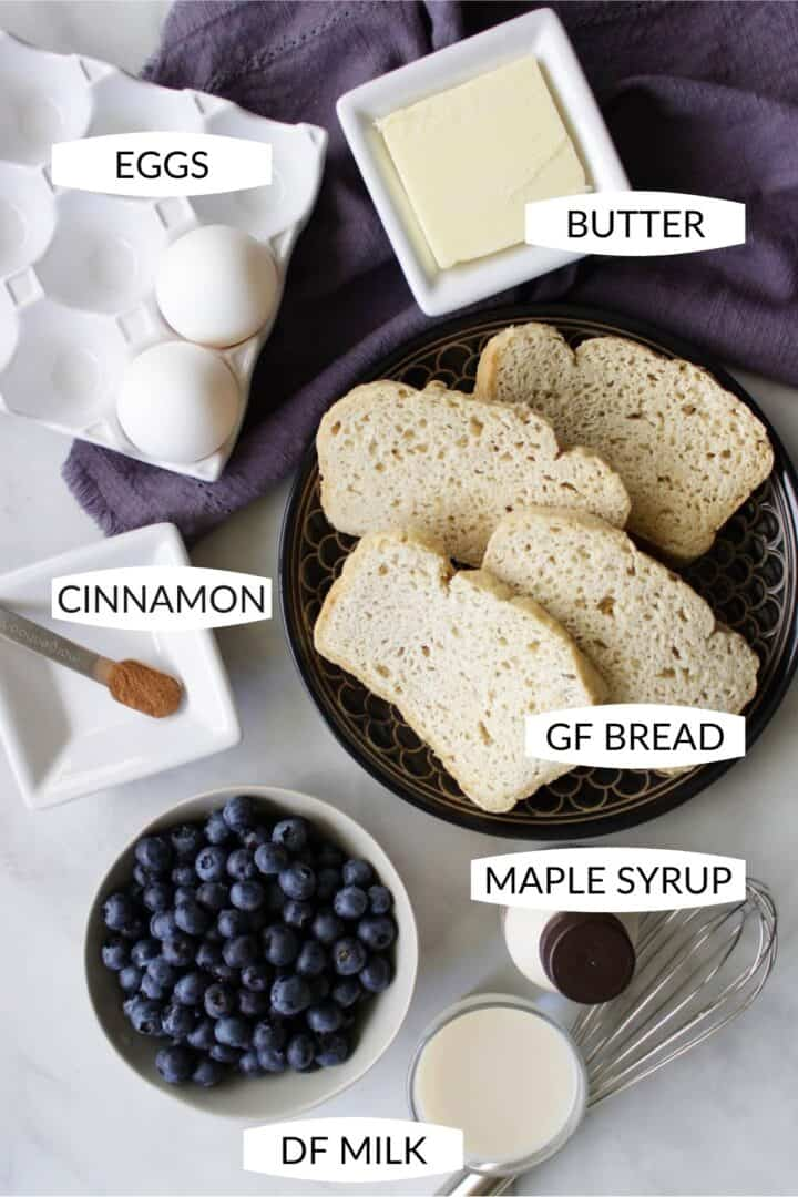 ingredients for gluten free French toast with labels
