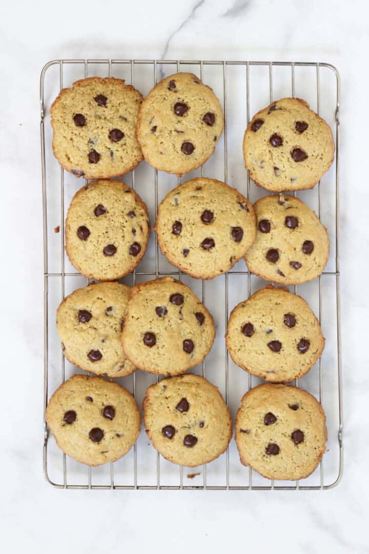 chocolate chip cookies cooling on a wire rack