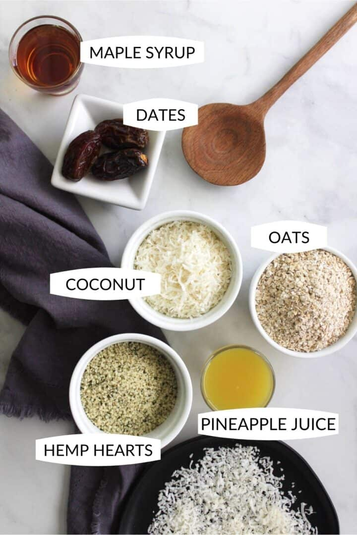 ingredients for coconut protein balls in individual bowls with labels