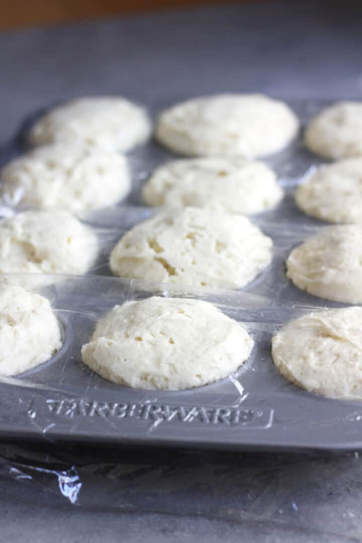risen white dough in muffin pan, covered in plastic wrap