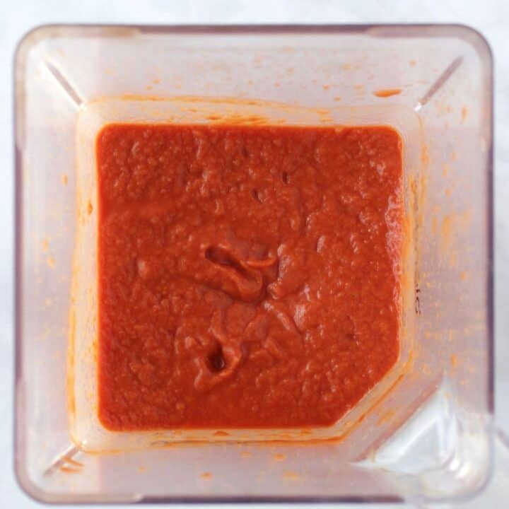 thick, tomato puree in bottom of blender jar