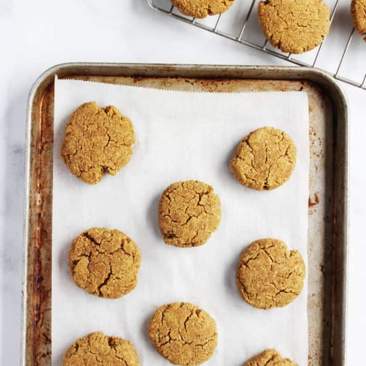 baked cookies on parchment-lined baking sheet
