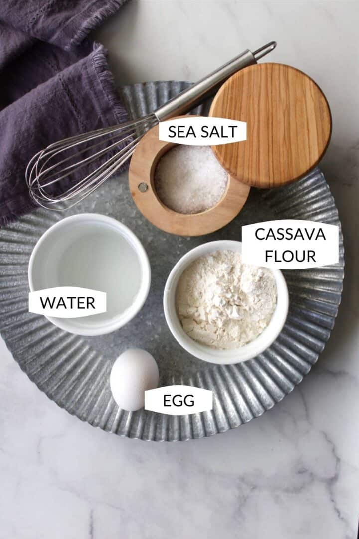 four ingredients for cassava flour tortillas with labels