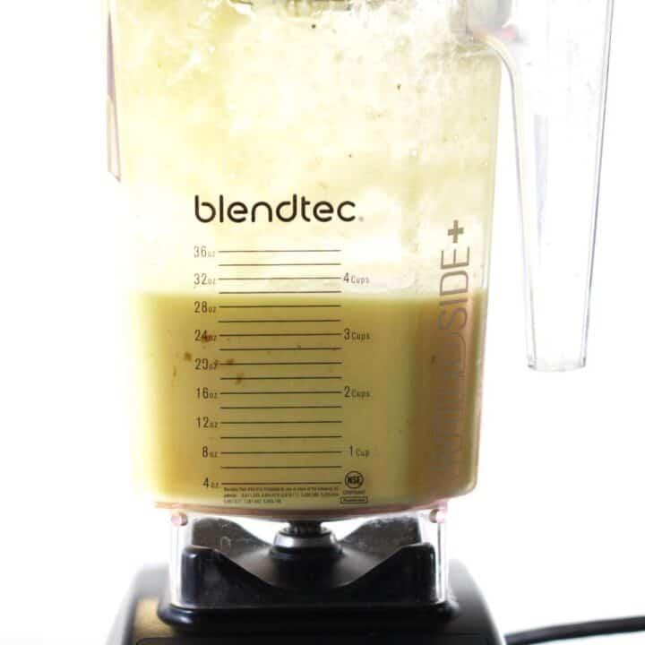 creamy, yellow smoothie in Blendtec jar